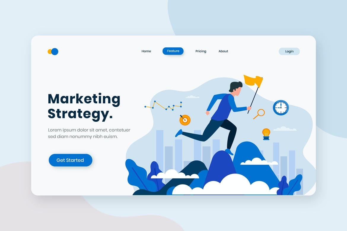 Marketing Strategy Flat Concept Landing Page