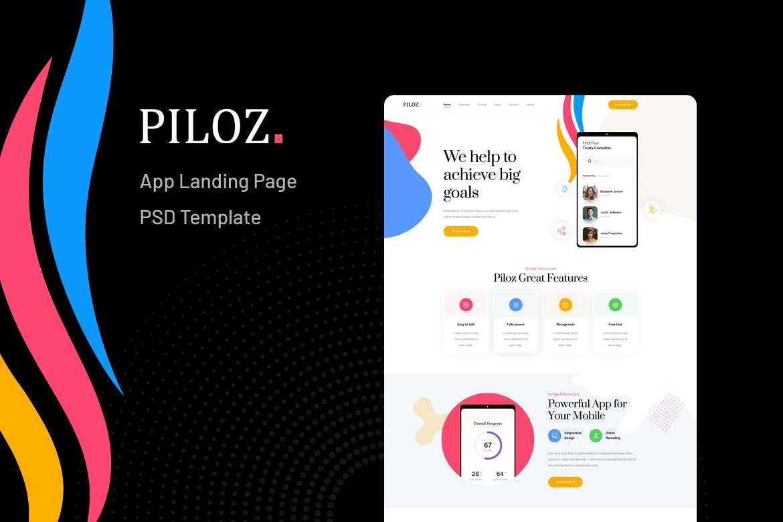 Piloz - App Landing Page PSD Template