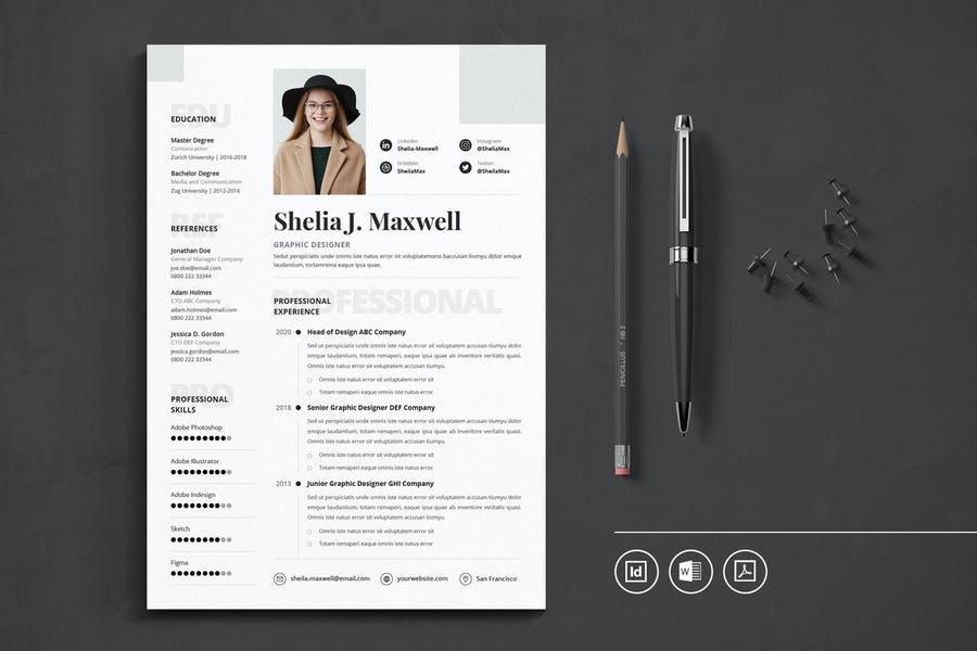 Professional CV Resume Indesign Template Vol.23