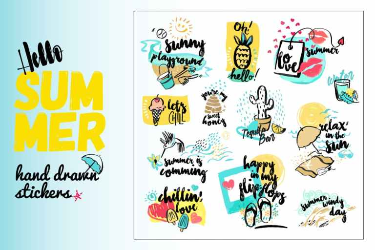 Set of hand drawn watercolor signs of summer.