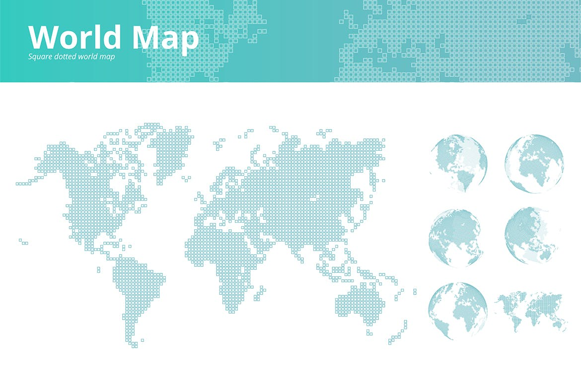 Square dotted world map