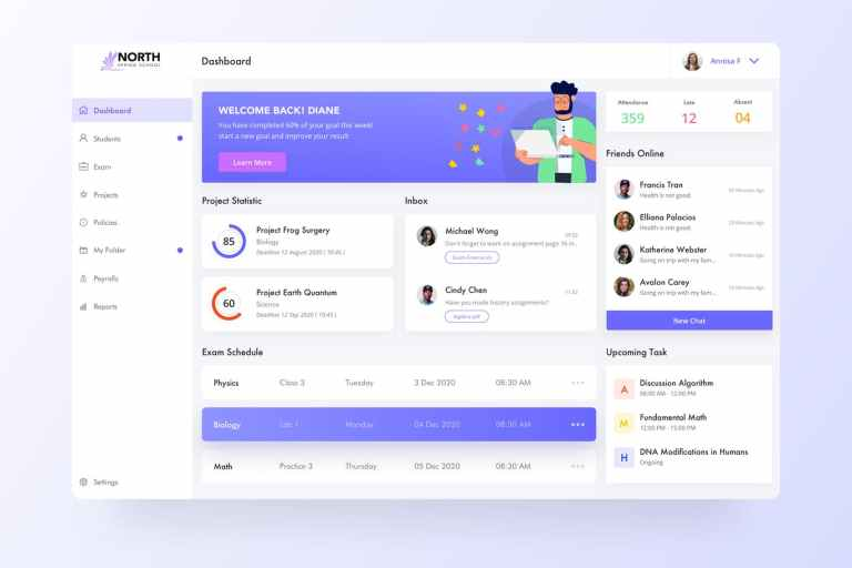 Student Dashboard Page Template