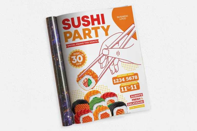 Sushi Party Ads Magazine