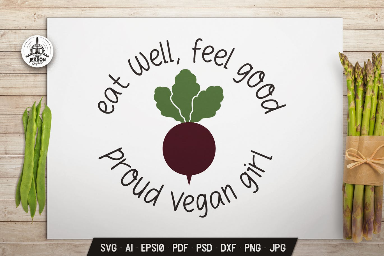 Vegan Girl Logo Design Retro Vector Beet Badge SVG