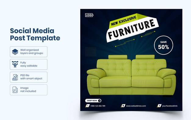 Furniture social media banner template Premium Psd