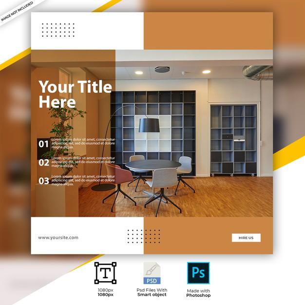 Interior design instagram square social post templates Premium Psd