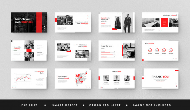 red white business power point landing page