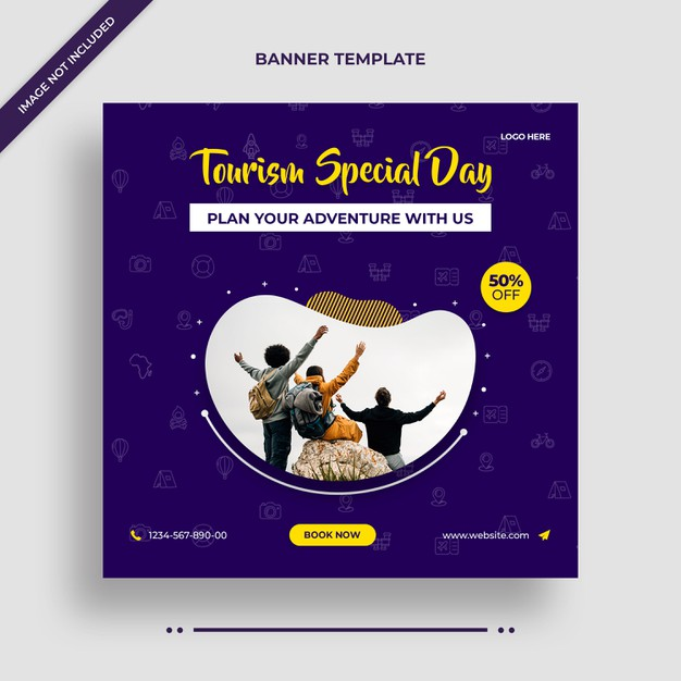 Tourism special day instagram banner or social media post template Premium Psd