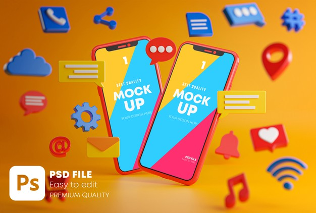Two smartphones between emojis Premium Psd