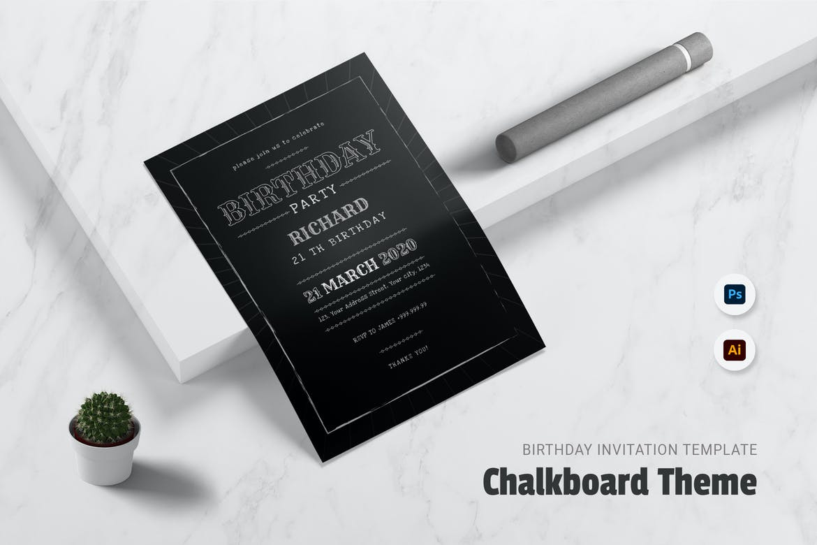 Chalkboard theme Birthday Invitation