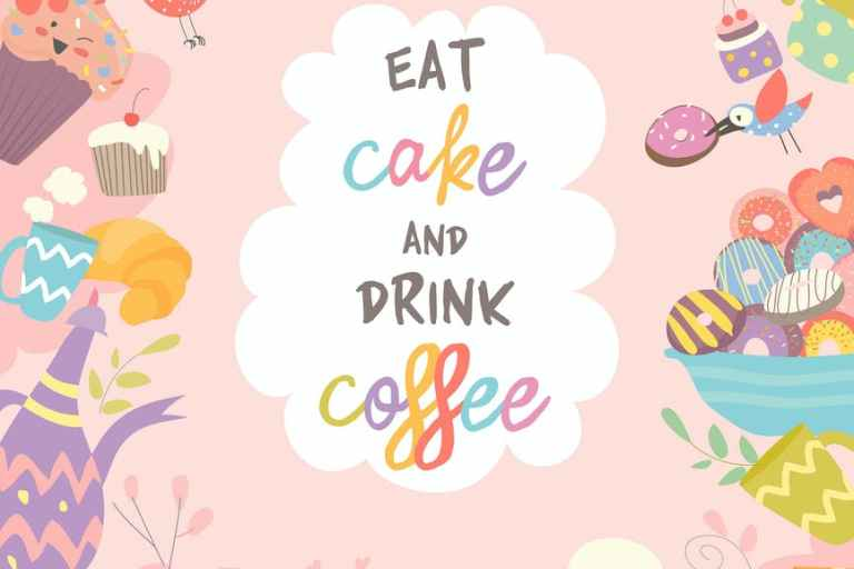 Cute frame composed of cup, cake and coffee.