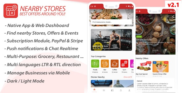 NearbyStores Android - Offers, Events, Multi-Purpose, Restaurant, Market - Subscription & WEB Panel