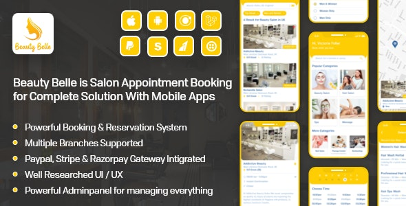 Salon & Spa Appointment Booking App For Android - iOS App with admin panel - Beauty Belle