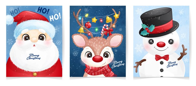 Cute santa claus set for christmas with watercolor illustration Premium Vector