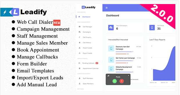 Leadify v2.0.0 NULLED - Call Center CRM
