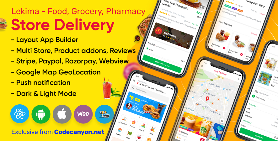Lekima - Store Delivery Full React Native Application for Wordpress WooCommerce.