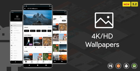 Wallpaper Android App ( Auto Shuffle + Gif + Live + Admob + Firebase Noti + PHP Backend)