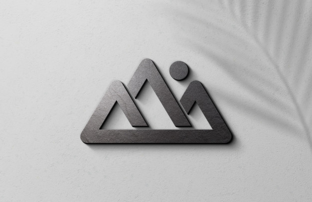 3d embossed logo mockup on white surface wall Premium Psd