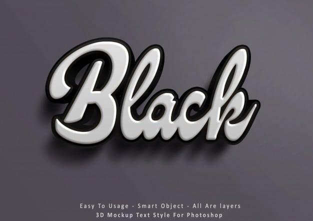 3d mockup black text style effect Premium Psd