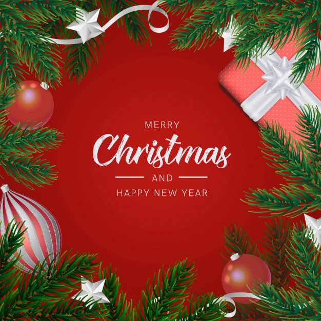 Christmas background with realistic decoration Free Psd