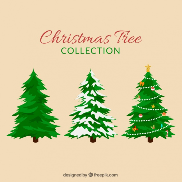 Christmas fir trees set Free Vector