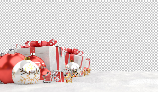 Cut out red christmas baubles and gifts on snow Premium Psd