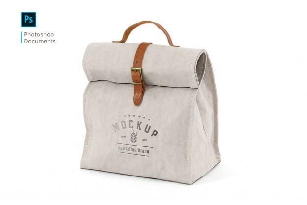 Fabric hand bag logo mockup design template Premium Psd