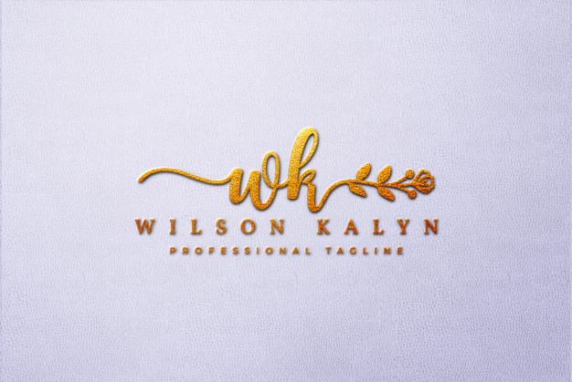 Golden 3d logo mockup on white leather Premium Psd