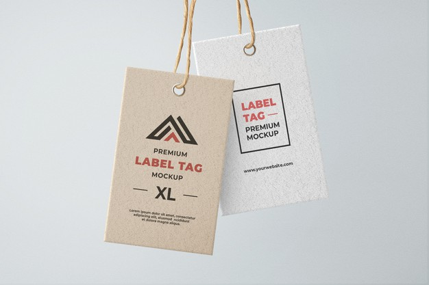 Hanging tag label mockup brown and white textured Premium Psd