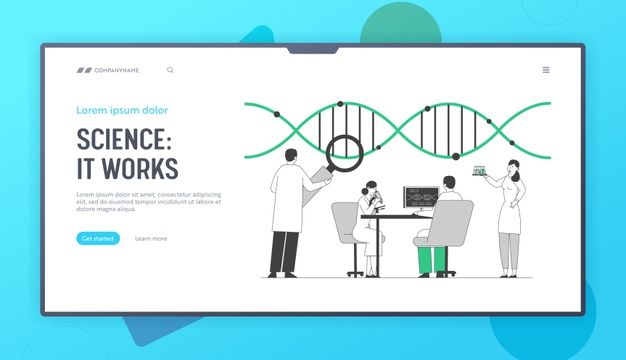 Laboratory research or experiment process website landing page Premium Vector