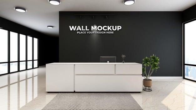 Metallic logo on office reception room mocku Premium Psd