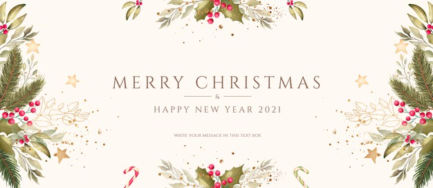 Minimal christmas background with watercolor decoration Free Psd