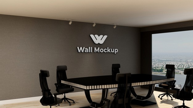 Mockup of silver office logo in elegant classic business indoor workspace Premium Psd