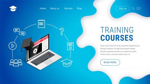 Online training courses landing page design concept. Premium Vector