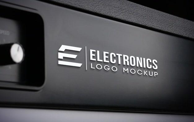 Realistic electronics logo mockup Premium Psd