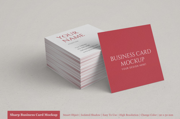Realistic stack of clean corporate square business card mock up templates Premium Psd