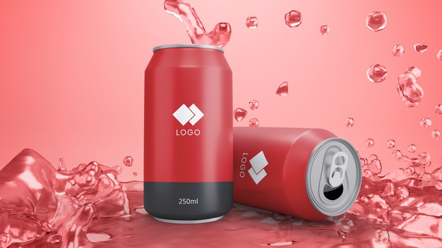Red soda can mockup with background juice Premium Psd