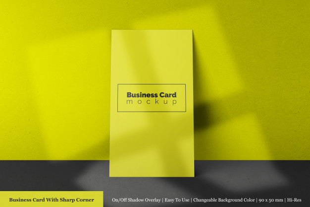 Single 90x50 mm modern business card with sharp corner mock-up front view Premium Psd