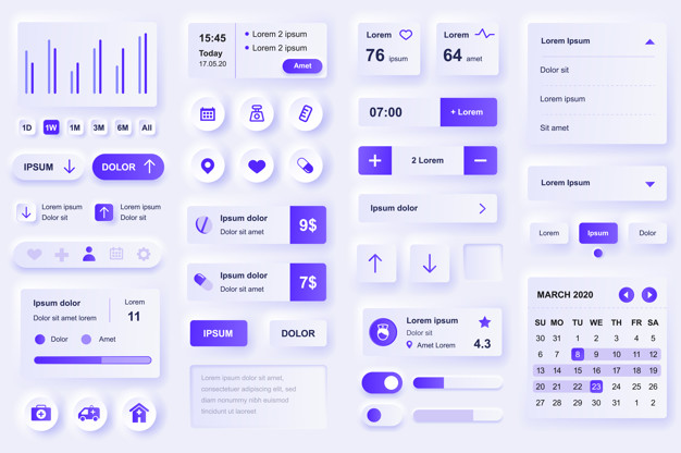 User interface elements for medical mobile app. Diagnosis and treatment, pharmacy store and laboratory gui templates. Unique neumorphic ui ux design kit. Manage, navigation, search form and components