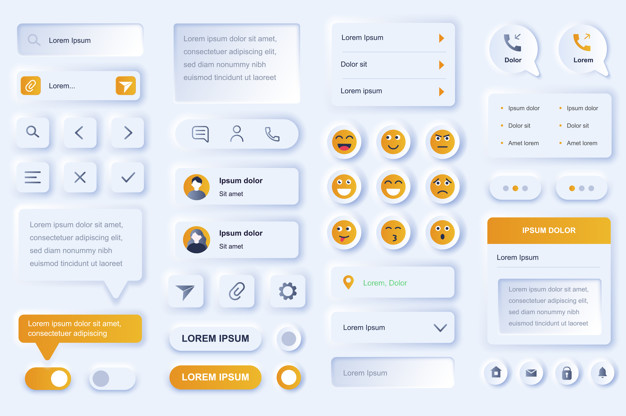 User interface elements for social network mobile app. Online people communication, chatting and messaging gui templates. Unique neumorphic ui ux design kit. Navigation and texting form and components