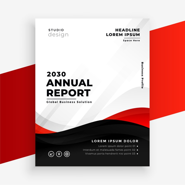 Annual report modern red flyer design template Free Vector