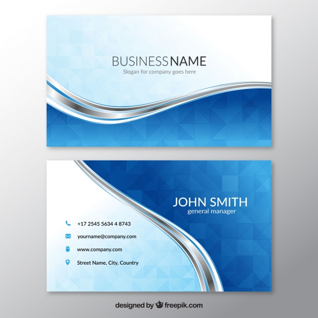 Blue business card with wavy lines Premium Vector