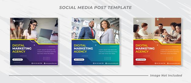Business marketing social media post banner template Premium Vector
