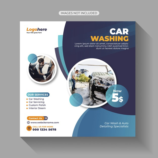 Car wash social media post Premium Vector