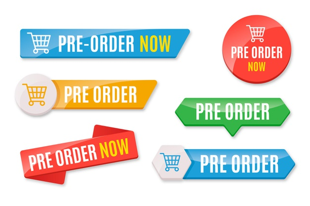 Collection of colored pre-order badges Free Vector