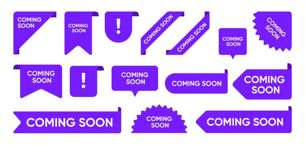 Coming soon flat promo banners set. bright grand sale and new arrival corners, stickers and