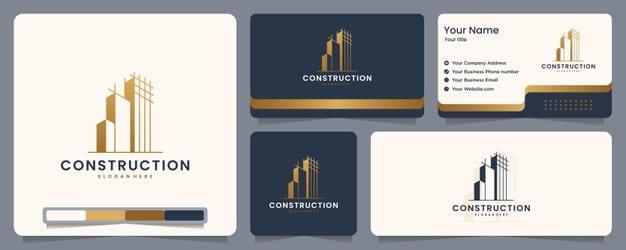 Construction , builder , building ,gold color ,banner and business card , logo design inspiration Premium Vector