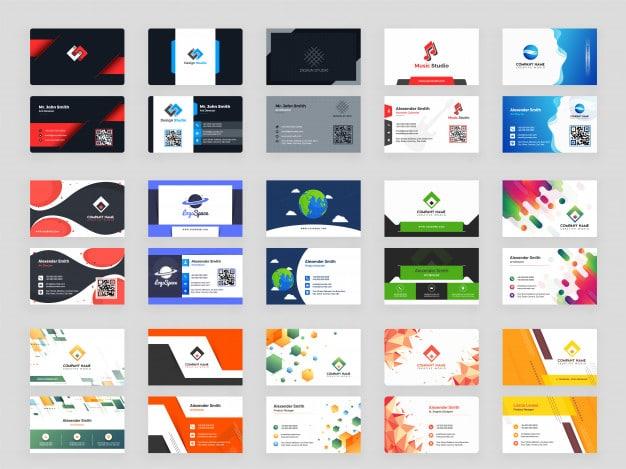 Creative set of 15 horizontal business card template Premium Vector