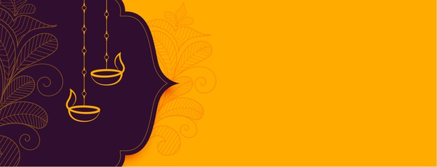 Decorative diwali festival banner with text space Free Vector
