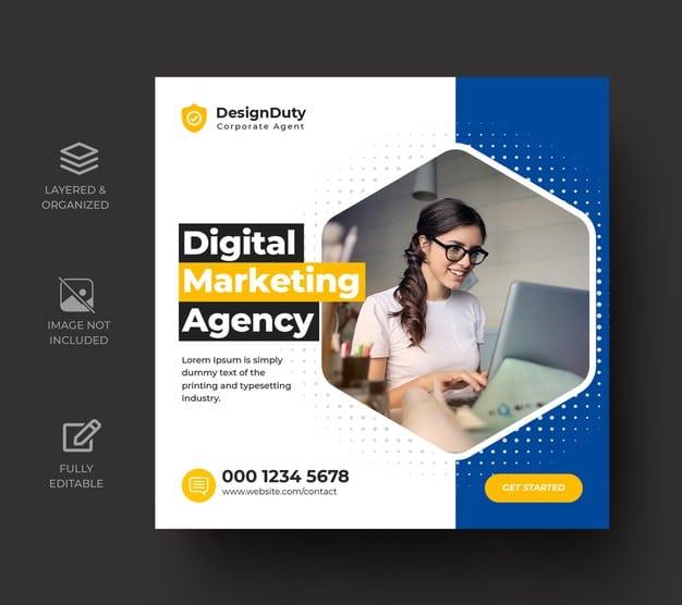 Digital business marketing promotion social media post template Premium Psd